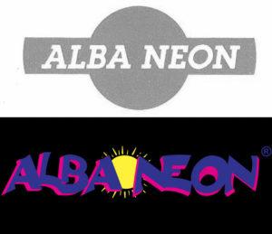 Primo logo e logo attuale della Alba Neon s.r.l. a confronto