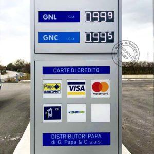Totem con prezziari a led per stazioni di servizio rifornimento carburanti